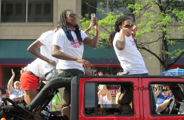 Indiana Fever players  Shavonte Zellous and Erlana Larkins flexed for the crowd.
