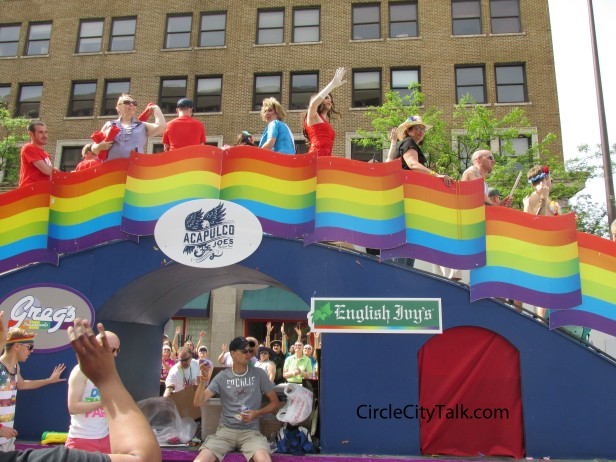 Some of the largest LGBT friendly bars in Indy hit the parade on a massive float.