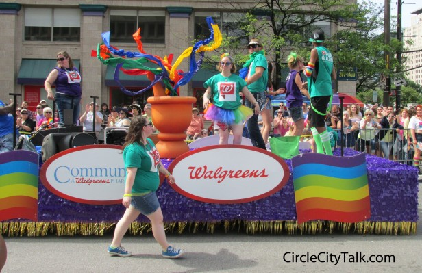Corporate sponsorship was big at this years Indy Pride festival. The Walgreens float was one of the most colorful floats in this years prade.
